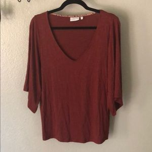 Anthropologie Deletta Bell Sleeve V neck blouse s